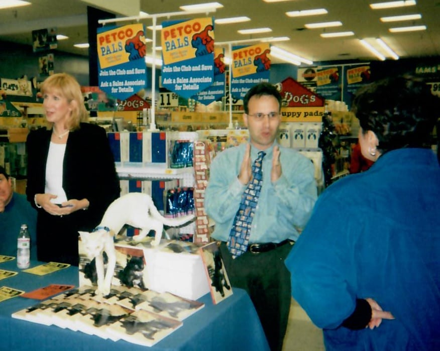 Ricky back in the day - in-store appearance, one of many...Here with Certified Cat Behavior Consultant Pam Johnson-Bennett