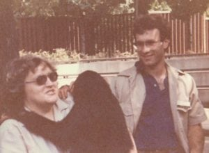 Steve with the late Pat Sass and Chimmy, the Chimpanzee