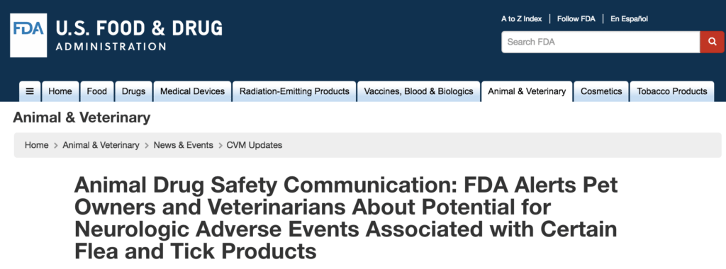 FDA warning about certain flea/tick products