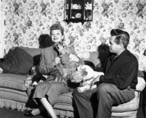 Lucille Ball and Desi Arnaz and dogs